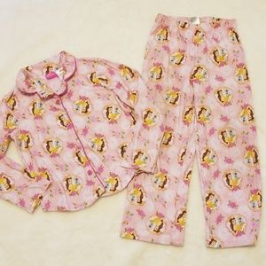 "Disney Princesses ""Belle"" Flannel Pajamas 6/6x"